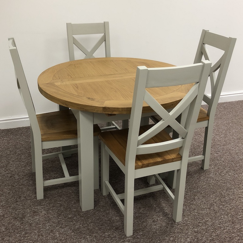Dover Oak Grey Extending Round Dining, Round Extendable Dining Table And Chairs Uk