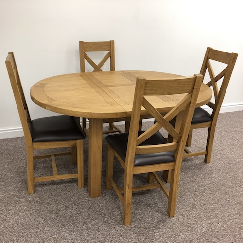 Dover Oak Extending Round Dining Table, Round Extending Oak Dining Table And Chairs