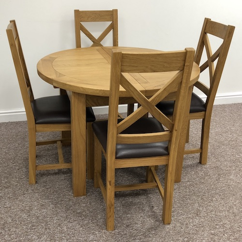 Dover Oak Extending Round Dining Table 110 4 Chairs Moon Furniture