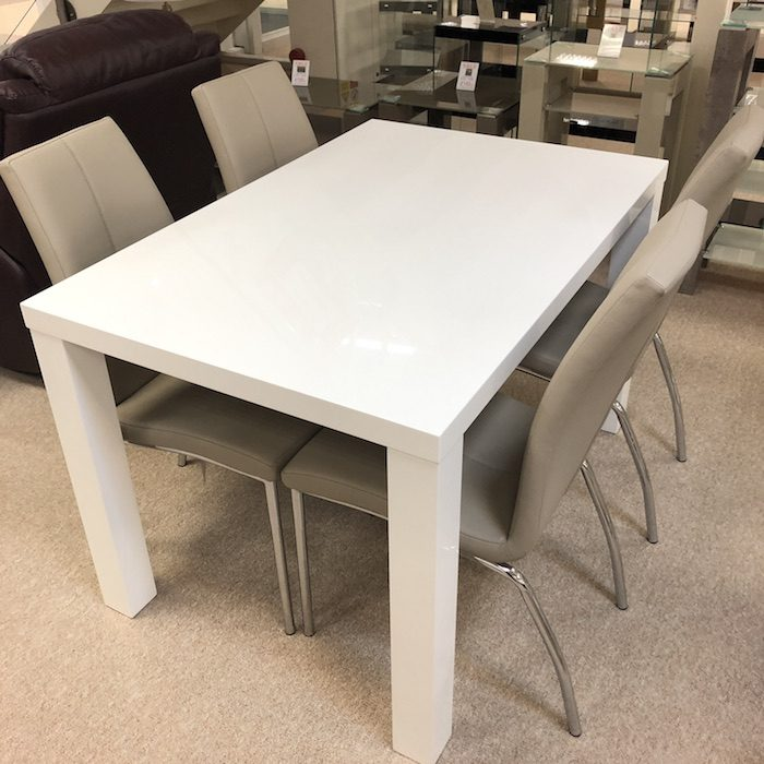 Prague White High Gloss Dining Table 4 Chairs Moon Furniture